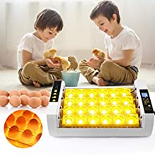 S SMAUTOP Egg Incubator 24 Eggs Automatic Turning LED Light Base Adjustable Temperature Digital LCD Display Incubator for Hatching Chick, Duck, Bird
