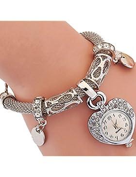 Gosear Frauen Lady Mädchen Mode Liebe Form Lässige Partei Kette Armband Handgelenk Uhr Armbanduhr