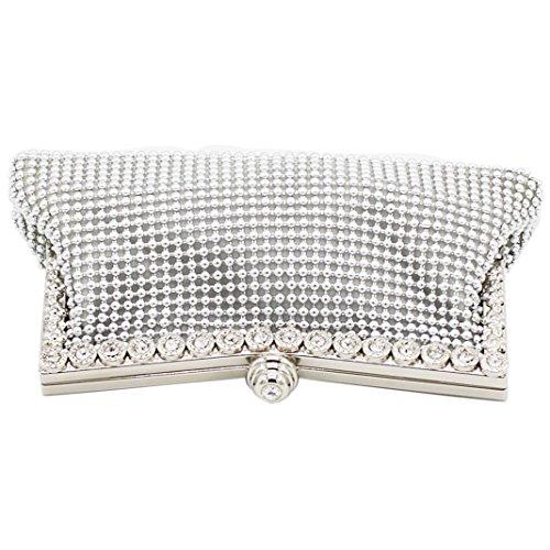 Sasairy Frau 21x10cm Elegant Bling Klein Handtasche Strass Clutch mit Kette für Abendball Hochzeits Geburtstags-Geschenk Schwarz Silber