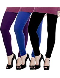 ROOLIUMS ® (Brand Factory Outlet) Women Winter Woolen Lycra Leggings (Pack Of 3) Free Size (Purple,Sky Blue, Navy...