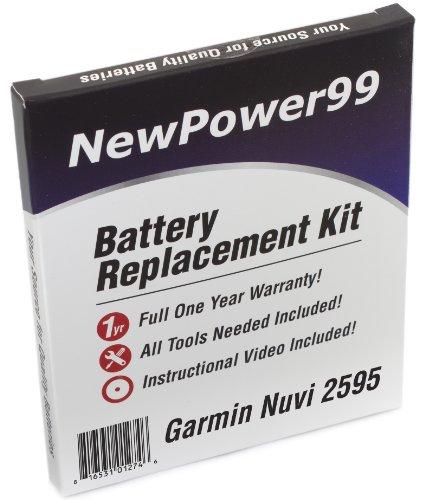 Garmin Nuvi 2505Serie (Nüvi 2505, Nuvi 2515, 2545, 2555, 2565, 2575, 2595) Akku Ersatz-Set mit Installation Video, Werkzeuge, und Extended Life Akku. Lithium-ion Extended Life