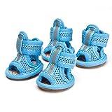 Semoss Atmungsaktiv Anti-Rutsch Hunde Schuhe Pfotenschutz Boots für Pfoten und Hunde (XXL, Blau)
