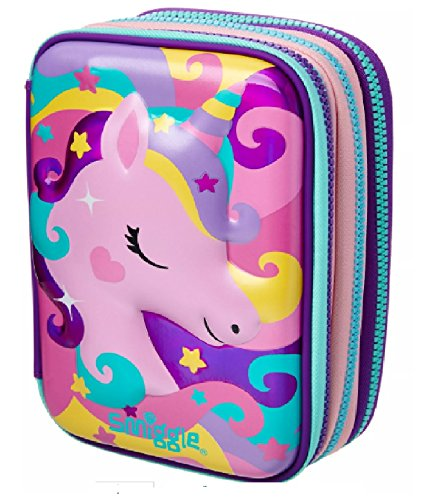 Maxmilli Gift Collection Smiggle Maxi Federmäppchen, 3-fach hochklappbar Pinky Purple Unicorn & Milkshake