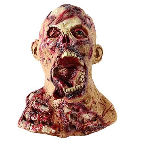 Wddqzf Dekoration Statuen Halloween Neuheit Cosplay Scary Mask Horror Latex Kopf Maske Kostüm Für Erwachsene Party Dekoration Requisiten Gruselig Für (F), D