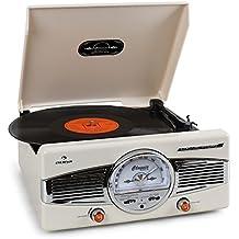 auna • MG-TT-82C • Retroanlage • Stereoanlage • Plattenspieler • Riemenantrieb • max. 45 U/min • Stereo-Lautsprecher • 50er Design • Start-Stopp-Automatik • Radio-Tuner • UKW-Empfänger • Frequenzbandanzeige • Wurfantenne • Lautstärkeregler • Cinch • creme