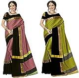 Art Decor Sarees Cotton Saree with Blouse Piece (Pack of 2) (Combo Ashi Peach Black & Lime black_Multicolor_Free Size)