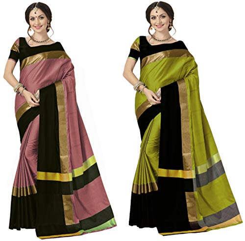 Art Décor Sarees Women\'s Yellow Color Cotton Silk Jacquard Saree With Blouse