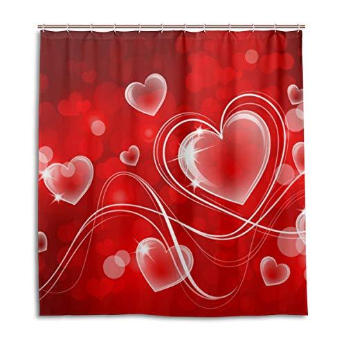 CPYang Duschvorhänge Valentines Love Herz Wasserdicht Schimmelresistent Badevorhang Badezimmer Home Decor 168 x 182 cm mit 12 Haken