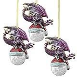 Design Toscano Alberi di Natale - Polo Nord Cappello da Babbo Natale Drago Holiday Ornament: Set di tre - Snowflake Dragon Ball Ornament