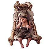 Neugeborenen Babyfotografie Props Kostüm Jungen Mädchen Baby Fotografieren Fotoshooting Set Requisiten Accessoire Hut Stramper