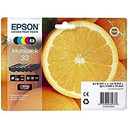 Epson 33 Claria Premium Cartouches d'encre d'origine Multi-pack Noir/Cyan/Magenta/Jaune Amazon Dash Replenishment est prêt