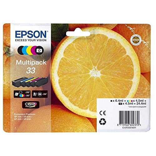 Epson Original T3337 Tinte, Orange, Claria Premium, Text- und Hochglanzfotodruck (Multipack 5-farbig) (CYMK + Photo-schwarz)