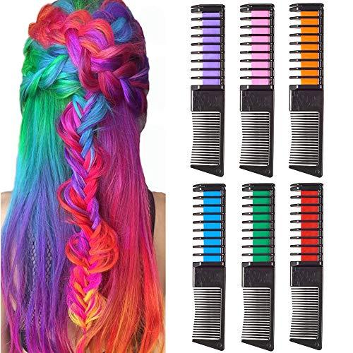 Haarkreide für Mädchen, SIGHTLING 6 Stück Haarfarbe Kamm, Temporär Haarfarbe Kreide Kamm Haar Chalk mit Handschuhe und Schal für Kinder Haarfärbemittel, Party und Cosplay
