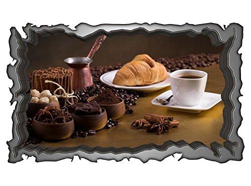 3D Wandmotiv Essen Kaffee Tasse Coffee Küche Bohnen Wandbild selbstklebend Wandtattoo Wohnzimmer Wand Aufkleber 11E109, Wandbild Größe E:98cmx58cm