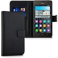 kwmobile Funda para Huawei Ascend Y635 - Wallet Case plegable de cuero sintético - Cover con tapa tarjetero y soporte en negro