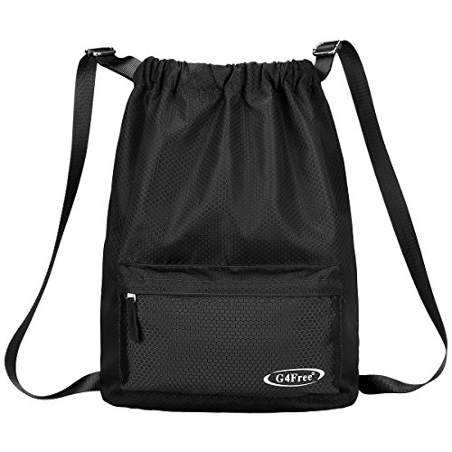 G4Free Water-resistant Drawstring Backpack PE Bag Unisex Sports Bag Gym Bag Gymsack Kids School Rucksack Swimming Bag for Adults and Children