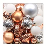 Valery Madelyn 50 Stücke 3-8cm Weihnachtskugeln Kunststoff Christbaumkugeln Set Kupfer Silber mit Aufhänger Weihnachtsbaumschmuck Weihnachtsdekoration
