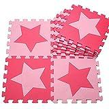 H Cadeau Bunt Puzzlematte Schaumstoff Puzzle Matte Kinder Spielteppich Spielmatte Baby krabbeln Boden Schlafzimmer Yoga Turnhalle 30*30cm 9 teilig (Pink Stern)