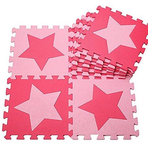 H Cadeau Bunt Puzzlematte Schaumstoff Puzzle Matte Kinder Spielteppich Spielmatte Baby krabbeln Boden Schlafzimmer Yoga Turnhalle 30*30cm 9 teilig (Pink