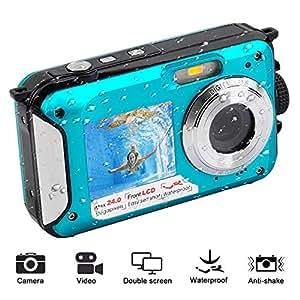 Fotocamera impermeabile Camera 1080P FHD Videocamera Subacquea da 24 MP con doppio schermo Impermeabile Selfie Fotocamera Digitale Impermeabile