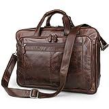 UBaymax Leder Aktentasche Laptoptasche Herren, Vintage Ledertasche Businesstasche für bis 17 Zoll Laptop, Klassische Echt-Leder Schultertasche Arbeitstasche Messenger Tasche,Braun