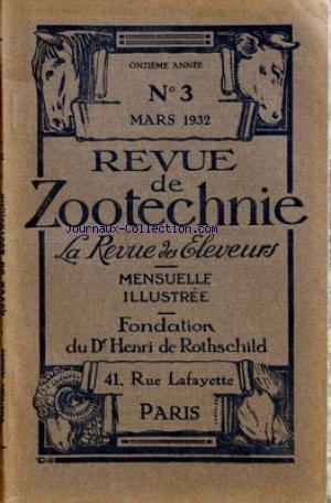REVUE DE ZOOTECHNIE (LA) [No 3] du 01/03/1932