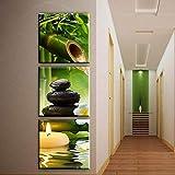 YSDS-JZ Pintura Mural Pintura sobre Lienzo Pintura Imagen Zen SPA Piedra BodegóN DecoracióN Moderna Obras Fotos,40 * 40cm*3