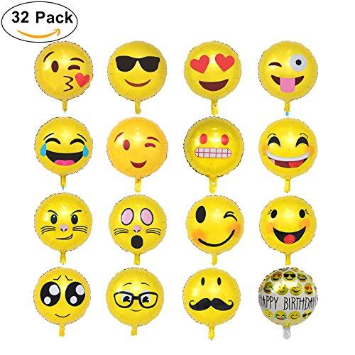Emoji-Palloncino18-Pollici-Party-Palloni-Foil-Colorati-gonfiabili-Articoli-per-Feste-Palloncino-Divertenti-Emoji-Palloncini-Grandi-Perfetto-per-Decorazioni-Festa-Compleanno-Laurea-32-pz