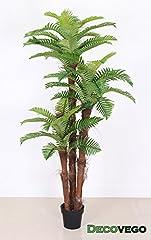 Idea Regalo - Palmizio Palma Cocco Pianta Albero Artificiale 180cm Legno Naturale Decovego