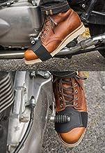 Denco - Protezione per il cambio di scarpe da moto, in pelle pura, taglia unica, colore: nero
