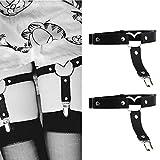 Jurxy Leder Strumpfband 2 PCS Oberschenkel Ring Harness Suspender Gothic Gummi Nieten Strapsbänder Verstellbare mit Metall Clip - Schwarz
