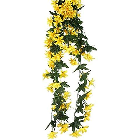 Plantas Vid de Flor Lirio Artificial Guirnalda Colgante Decoración para Hogar Fiesta Amarillo