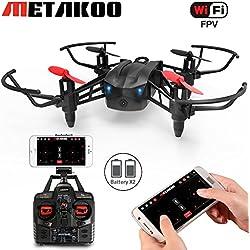 Drone con cámara, Metakoo M5 Professional Drone para Principiantes FPV 2.4GHz 4CH Cuadricoptero con Velocidad Continua, Modo sin Cabeza, 3D Flips, 2 Baterías Fácil Operación Segura para Niños