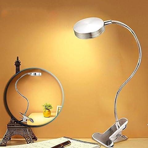 BestFire LED dimmbar Tischlampe, Klemmleuchte, Silber Augenschutz LED Schreibtischlampe mit
