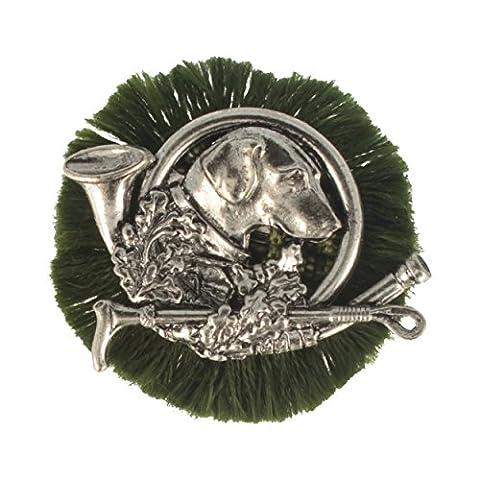 Hutanstecker | Hutabzeichen | Jagdabzeichen | Trachten-Anstecker – Jagd-Hund – Rund – Ø 4,5 cm – mit grüner