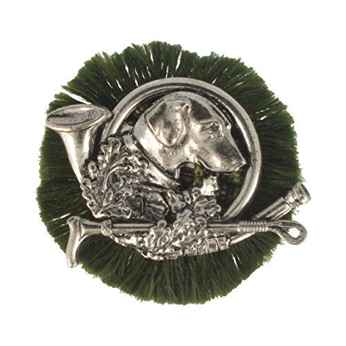Hutanstecker | Hutabzeichen | Jagdabzeichen | Trachten-Anstecker – Jagd-Hund – Rund – Ø 4,5 cm – mit grüner Rüsche