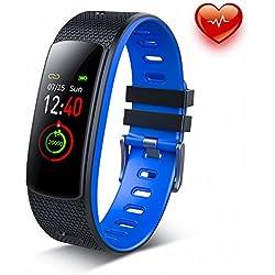 Dr.VIVA Pulsera Actividad,Reloj Fitness Pulsómetro Monitor y Sueño Impermeable IP67 Podómetro Pantalla a Color Mujer Hombre Los Niños Pulsera Modo Multi-deporte Pulsera Inteligente para iOS y Android