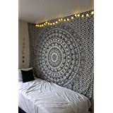 Décoration de chambre 100% coton imprimé à la main, Tapisserie murale ou drap de Plage Mandala - Style Eléphant - Noir/Blanc
