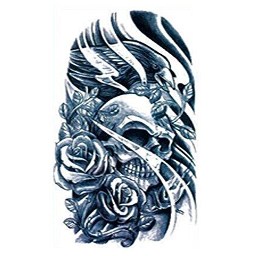 Halloween Tattoo für Erwachsene Schwarz-Weiß-Schädel und Rosen realistisch -