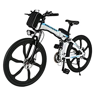 Ancheer Electric Mountain Bike, 26 Inch Folding E-bike with Super Lightweight Magnesium Alloy 6 Spokes Integrated Wheel, Large Capacity Lithium-Ion Battery and Battery Charger, Premium Full Suspension and Shimano Gear (Weiß-1)
