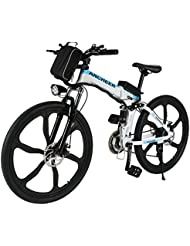 Ancheer Electric Mountain Bike, 26 Inch Folding E-bike with Super Lightweight Magnesium Alloy 6 Spokes Integrated Wheel, Large Capacity Lithium-Ion Battery and Battery Charger, Premium Full Suspension and Shimano Gear