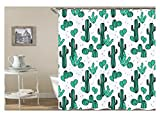 Amody 3D-Digitaldruck Kaktus Duschvorhang Bad Vorhang Durable Wasserdicht Bad Vorhang Grün Größe180X200