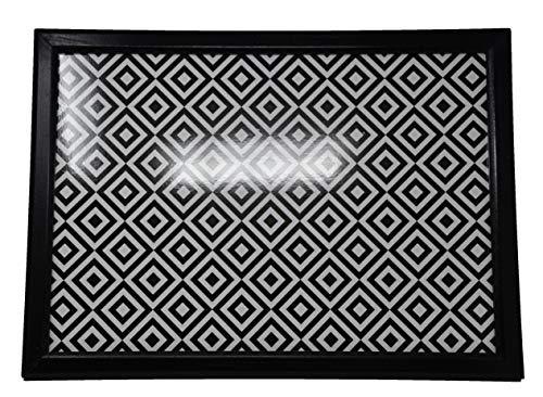 Preisvergleich Produktbild Emanhu Trading Knie-Tablett Laptop Tablet Kniekissen ESS-Tisch Maße ca. 50x36 cm Schwarz-Weiß