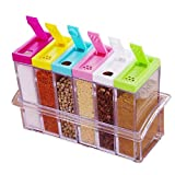 6 Piece Spice Jar Colorful Seasoning Box Kitchen Condiment Storage Container with Tray and 2 Kinds of Outlet Holes