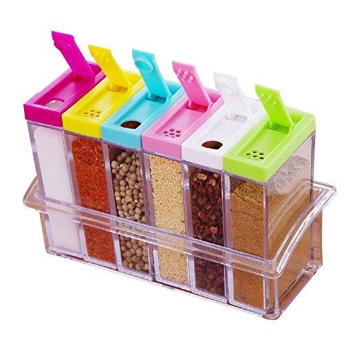 Xuanlan 6 Stück Würze Box Flaschen Set Transparente Salz Gewürz Jar Bunt Küche Gewürzflasche Gläser Aufbewahrungsbehälter mit 2 Arten von Outlet Löcher (Salz Und Pfeffer Korb)
