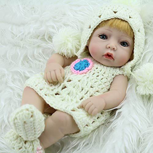 28CM einzigartiges gelbes Haar Reborn Baby Doll Soft Vinyl Lebensechte Newborn Doll Mädchen mit Pullover und Cap Schuhe -