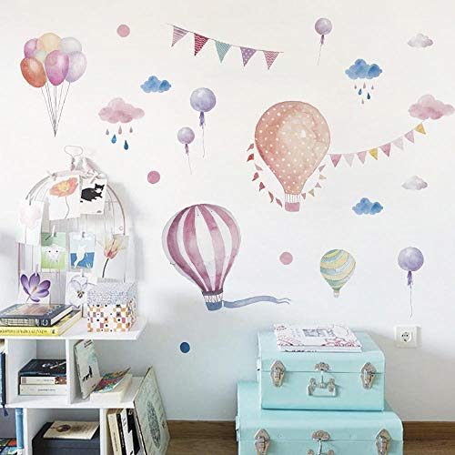 S`good - Wandaufkleber, Wall Sticker Background Wall Sticker Cartoon Wall Sticker Hot Air Balloon Classroom Wall Decoration Children Room Background Wall Layout@30 * 90