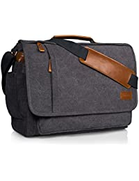 Estarer 17-17.3 inch Laptop Messenger Bag,Mens Water Resistant Canvas Satchel Briefcase,Padded Computer Shoulder Bag for Work