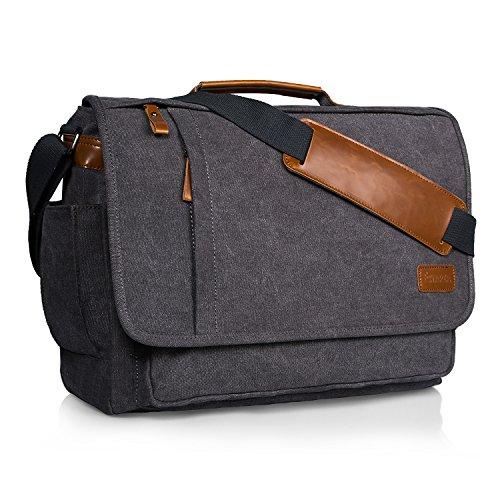 Estarer Laptoptasche 17 Zoll Umhängetasche Canvas für Arbeit Uni Grau (Baumwolle Vintage Messenger Bag)