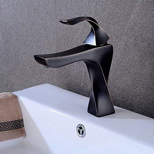 WANNA.ME Waschtischarmaturen Bad Wasserhahn Moderne Einhand-Wasserhahn Art-Effekt-Messing-Mixer Schwarz Waschbecken Wasserhahn